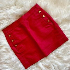 J. Crew Red Mini Skirt Gold Buttons